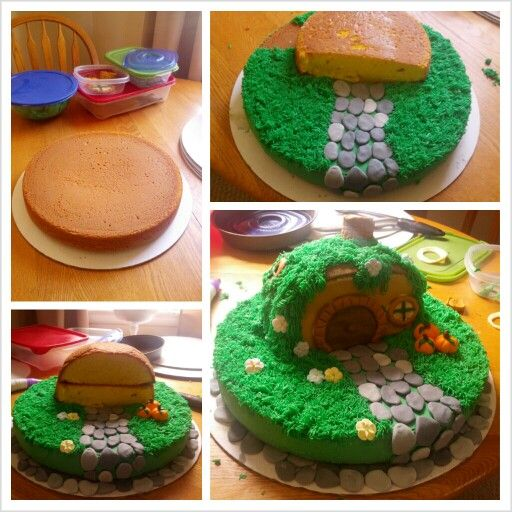 This one, I like that it has more grass covering over the house...looks more like a part of the hillside...and I like that the base is a cake. Plus the stones...needs cute mushrooms!