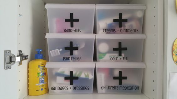 Organised First Aid Kit - Love the boxes with the labels.