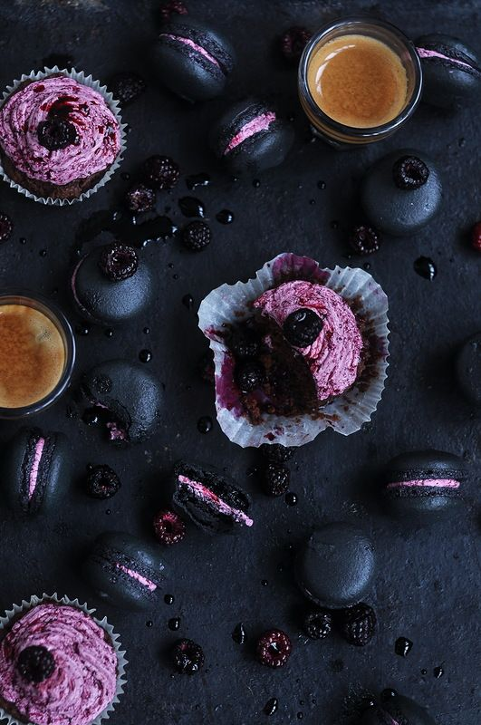 Blackberry macarons and blackberry muffins #foodphotography