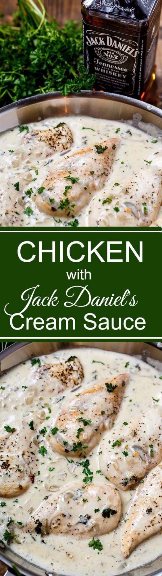 Fun DIY Ideas Made With Jack Daniels - Recipes, Projects and Crafts With The Bottle, Everything From Lamps and Decorations to Fudge and Cupcakes | Chicken in Jack Daniels Cream Sauce | http://diyjoy.com/diy-projects-jack-daniels