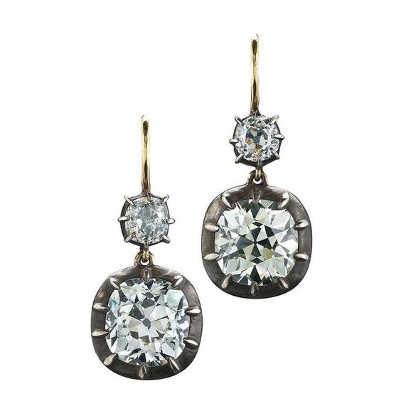 Fred Leighton double drop antique diamond earrings