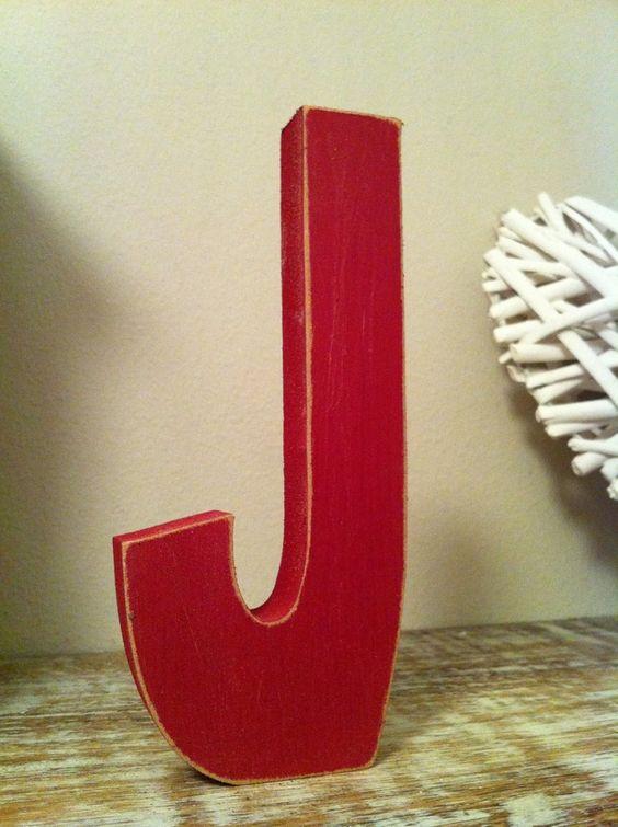 Freestanding Wooden Wedding Letter 'J' - Distressed Finish - 10cm - Ariel  £2.95