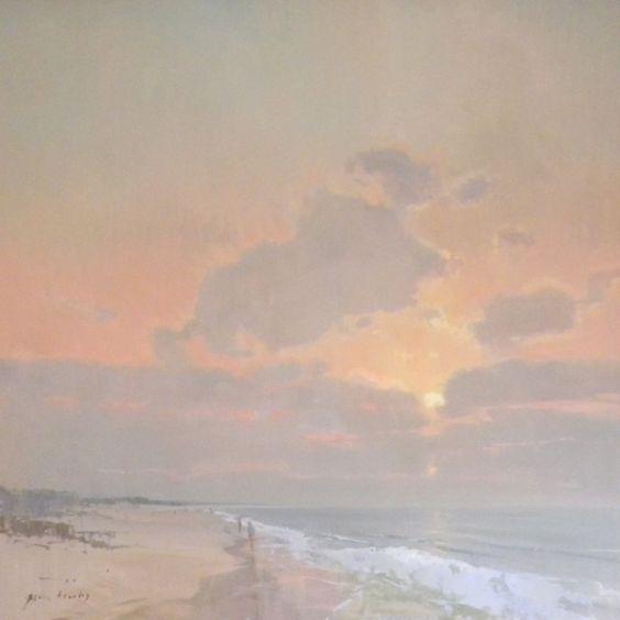 """""""Beach Morning"""" oil by Gavin Brooks, female California landscape painter:"""