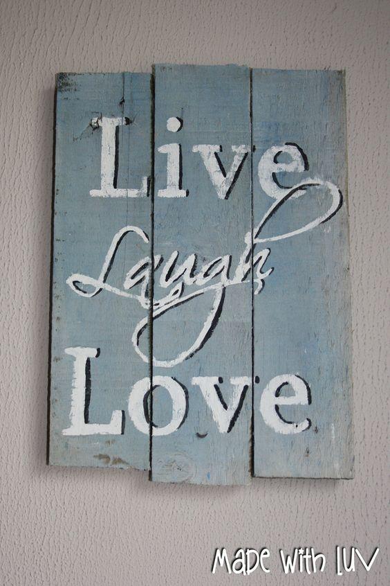 Live Laugh Love Muur Decoratie Pallet Hout  Slaapkamer ideeën ...
