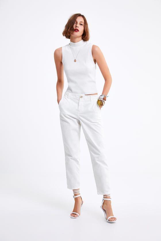 Lindos Pantalones Blancos Zara Mujer Jeans Zw Premium New Chino Pantalones Chinos Mujer Outfit Rebajas Verano