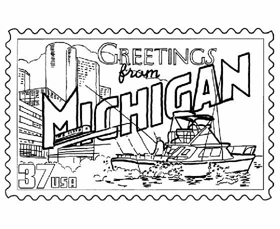 Michigan State Stamp Coloring Page Funmichiganideas