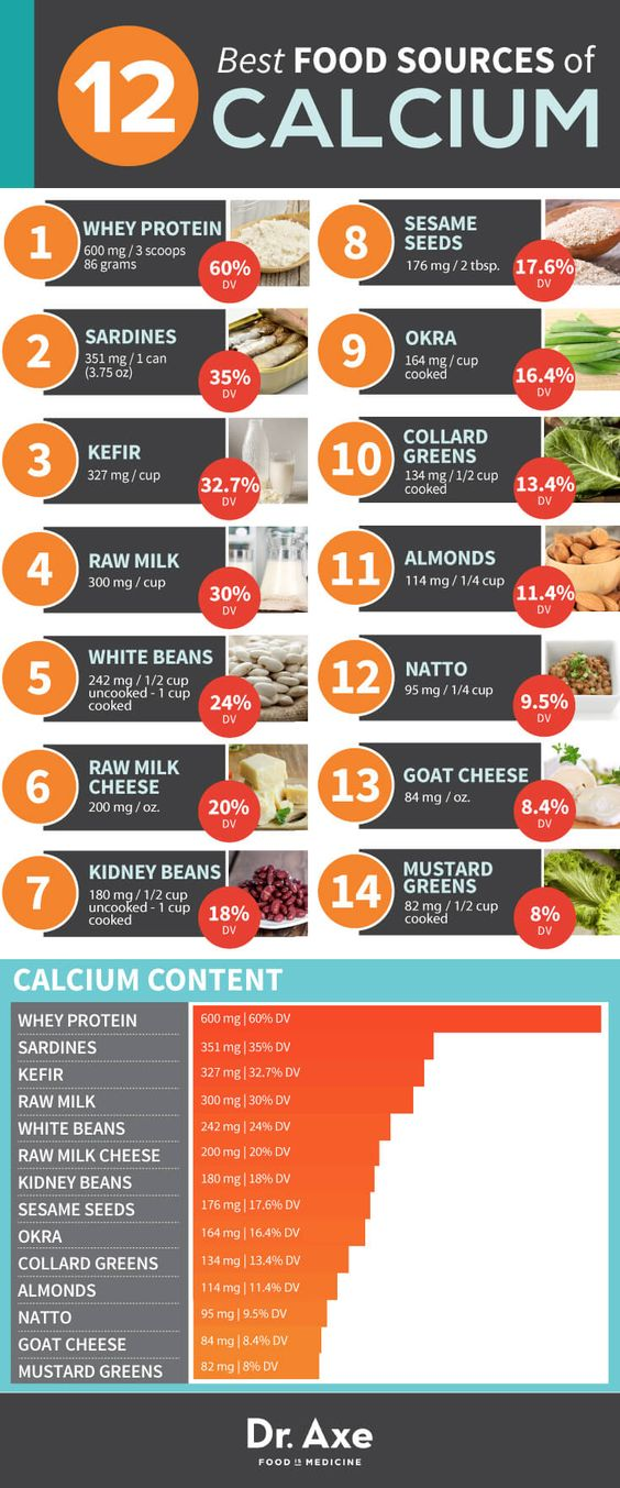 Foods Rich in Calcium Chart Infographic: