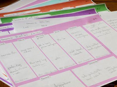 Planifier ses menus (plannings vierges de toutes les couleurs à télécharger)