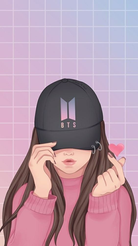 Bts Army Girl With Bts Hat Girl Wallpaper Cute Girl Wallpaper Anime Cool cartoon army image wallpaper