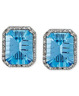 10k White Gold Earrings, Blue Topaz (3-1/2 ct. t.w.) and Diamond Accent Stud Earrings