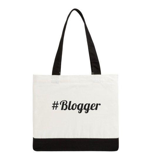 Canvas #Blogger Tote Bag:  Two-Tone Canvas Bag, Funny, Humorous, Blogger Humor, Mom Gift Idea