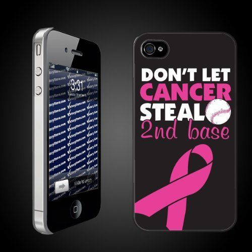 """Pink Ribbon/Breast Cancer Theme """"Don't Let Cancer Steal 2nd Base"""" - CLEAR Protective iPhone 4/iPhone 4S Case by VictoryStore, http://www.amazon.com/dp/B007D3T3TQ/ref=cm_sw_r_pi_dp_0pJbqb06H4BJ5"""