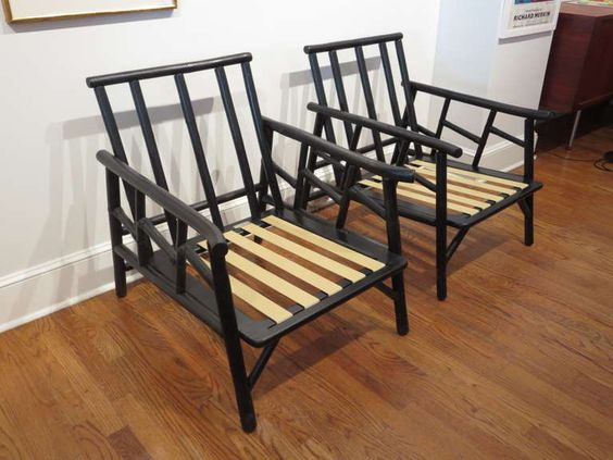 Pair Of Ficks Reed Bamboo Lounge Chairs