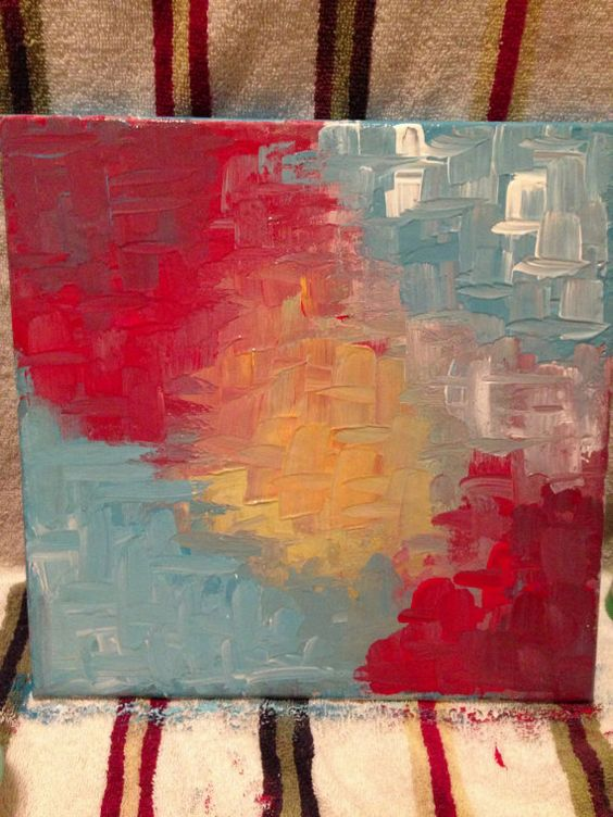 Original Abstract Acrylic painting 12 x 12 by ChristinaDeRidderArt, $35.00