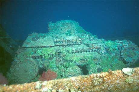 Japanese 2-man midget tank on the deck of the Nippo Maru wreck, Truk Lagoon…