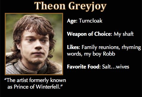 3f638937af0a273a43ba1bee5bb5bda9 memes humour tv memes game of thrones trading cards theon greyjoy asoiaf got memes
