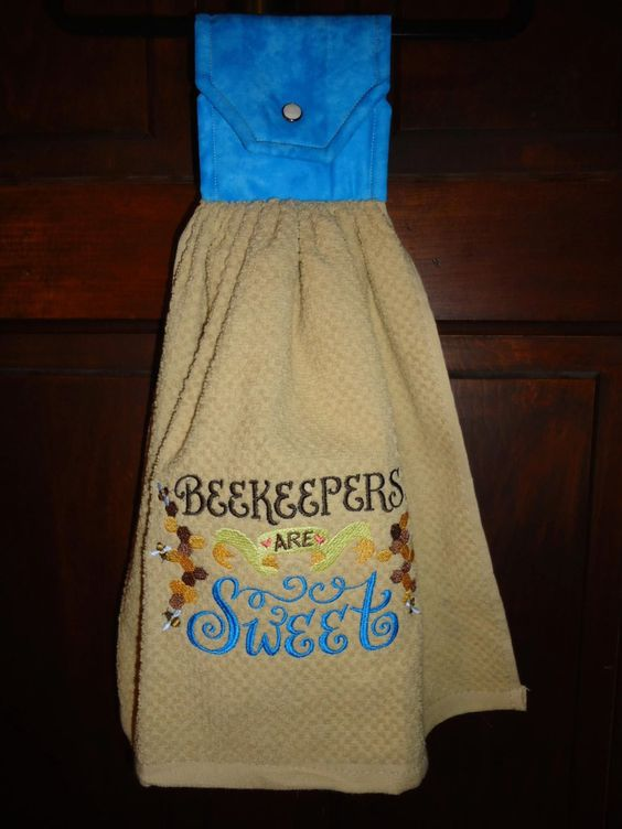 Embroidered Kitchen Towel - BeeKeepers Are Sweet with a Cotton Topper and snap Closure by Marshaslilcraftpatch on Etsy
