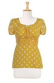 love, eshakti, yellow, polka dots, pretty, blouses, tops, knot front, short sleeve, cute tops, spring colors, summer prints