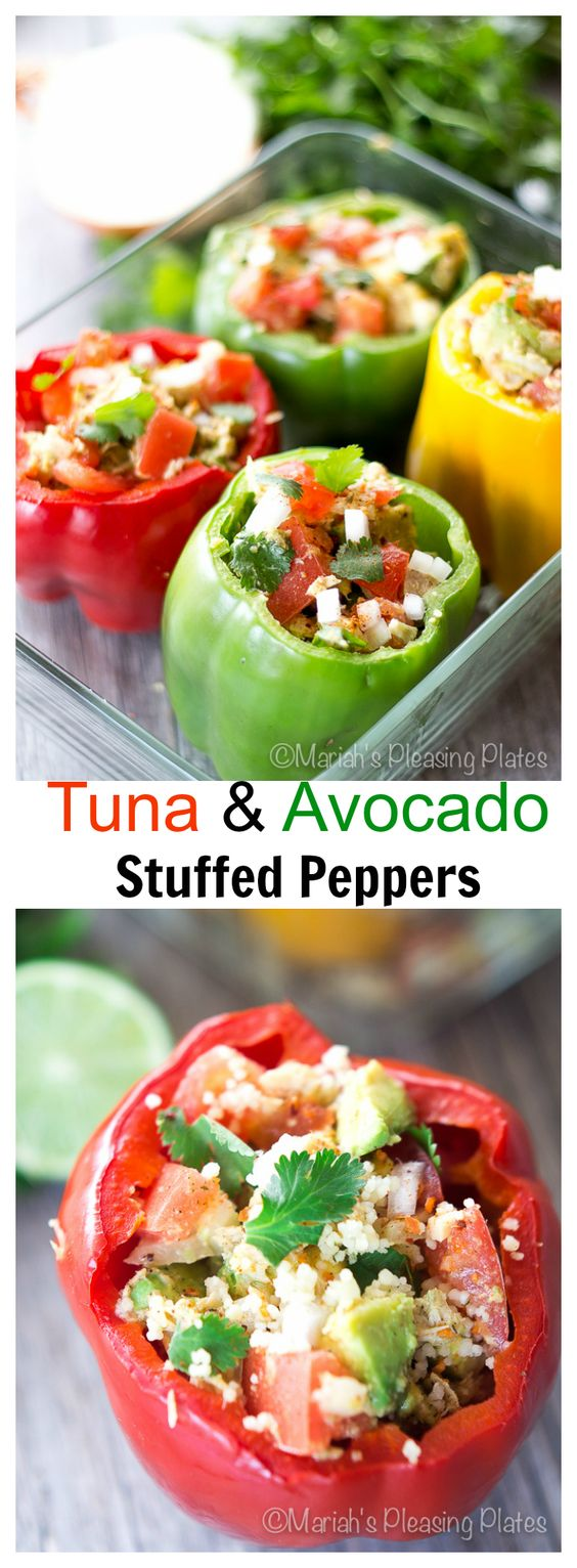 Couscous stuffed bell peppers topped with an avocado and tuna salad ...