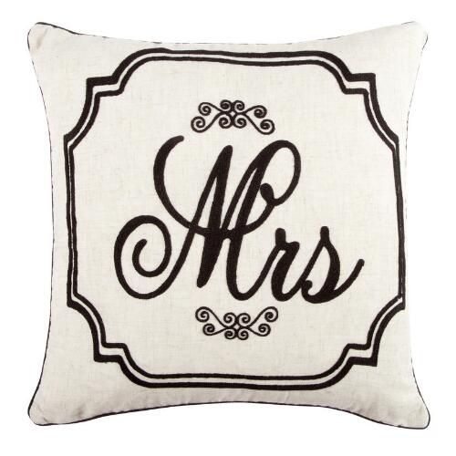One Of My Favorite Discoveries At Christmastreeshops Com Mrs Script Embroidered Feather Fill Square Throw Pill Throw Pillows Christmas Throw Pillows Pillows