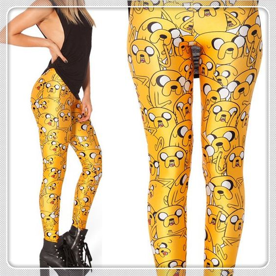 "LIMITED Wholesale New Fashion 2014 Women Space Print Leggings ""black milk style ""Adventure Time JAKE LEGGINGS Cheap Best $21.98"