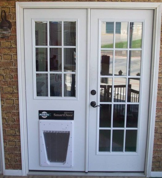 Replace sliding glass door with dog door in the doghouse for Can you put screens on french doors