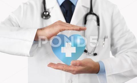 Medical Health Insurance Concept Cross And Heart Symbol Premium