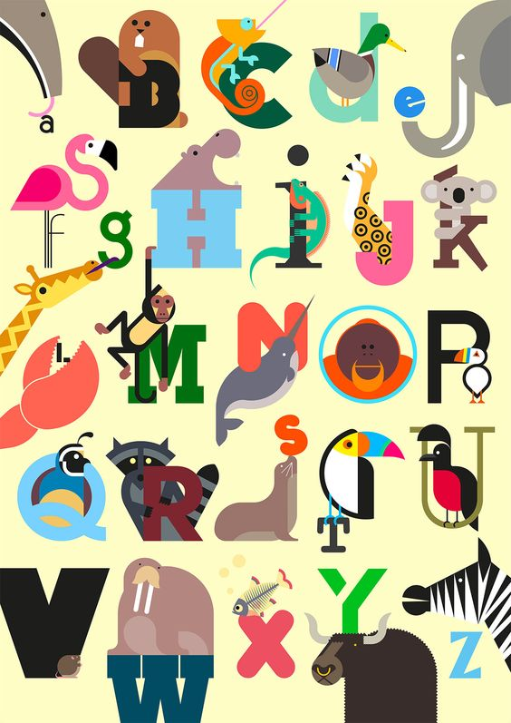 Full print - Build Animal A-Z Alphabet print in Yellow | ABC ...