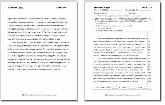 Reading assessm... Easycbm Reading Fluency