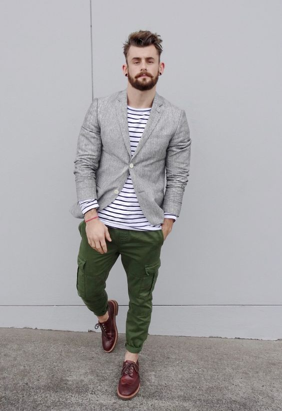 Gray Linen Jacket Striped Shirt Olive Green Cargo Pants