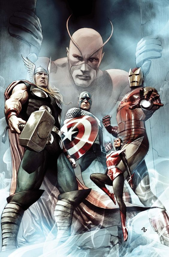 The original Avengers by Adi Granov - Thor, Iron Man, Wasp, Giant Man and Captain America