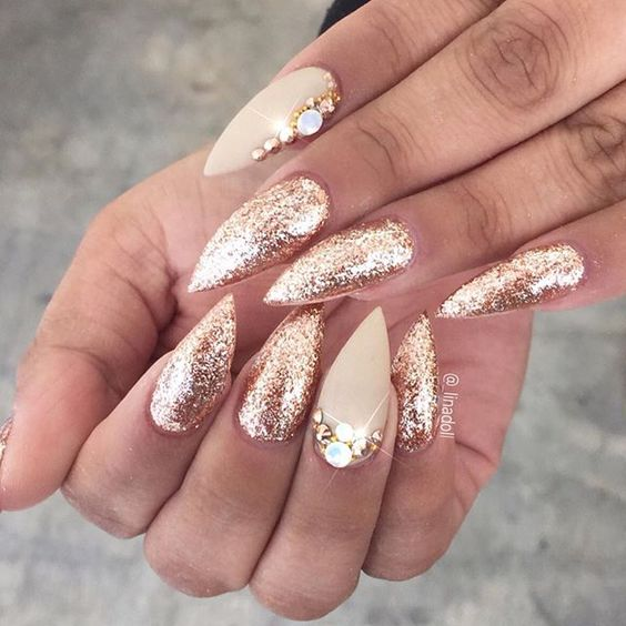 Gold glitter rhinestone stiletto nails nailart nails design