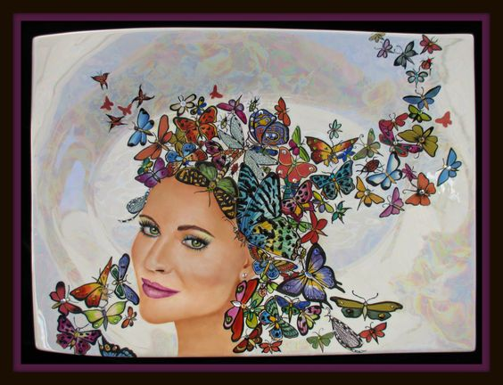 Madame Butterfly, hand painted porcelain portrait