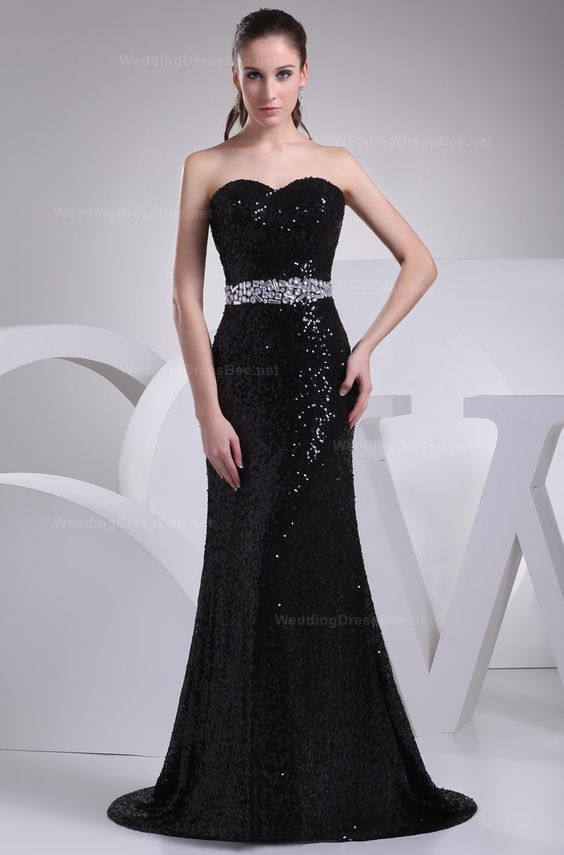 Shining sweetheart neckline Sheath / Column line evening dress