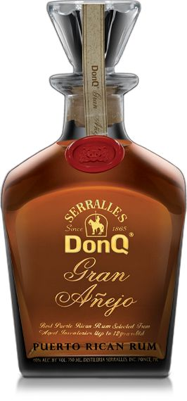 Don Q Gran Añejo Puerto Rican Rum (Destilería Serrallés, Ponce, Puerto Rico). Don Q has been produced in Puerto Rico since 1932 in a distillery started in 1865 by the Serrallés family. Aiming for mid-market, some interesting rums have appeared, nonetheless. The Gran Añejo is one of those: a blend of rums between 3 and 12 years of age, intended for sipping, I presume, but at a reasonable cost for including in cocktails, too. (via boozenik.com)