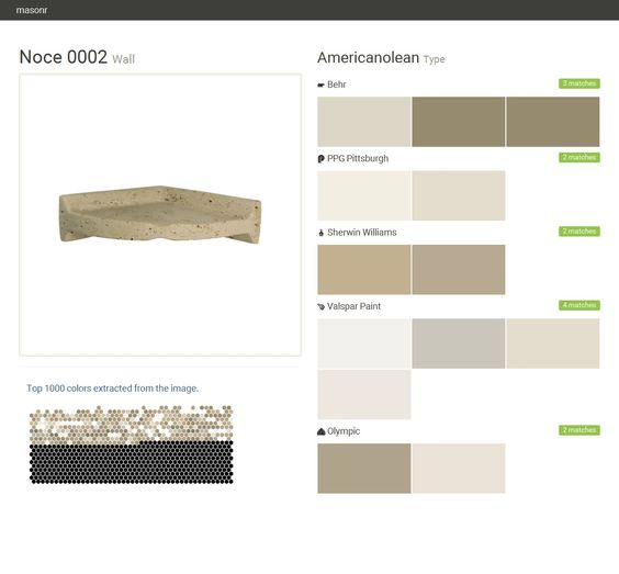 Noce 0002. Wall. Type. Americanolean. Behr. PPG Pittsburgh. Sherwin Williams. Valspar Paint. Olympic.  Click the gray Visit button to see the matching paint names.