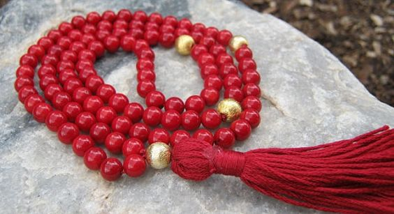 Bamboo Coral Mala Prayer Beads Rosary  Red and Gold by LotusJewels