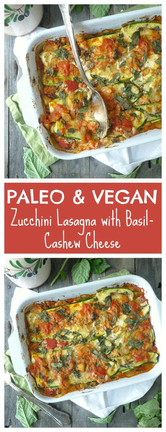 This noodle-less lasagna is #paleo and #vegan. Zucchini stands in for noodles and cashews are pureed for a creamy cheese substitute. The whole dish is bursting with flavor. Even my meat and cheese loving husband loved it!