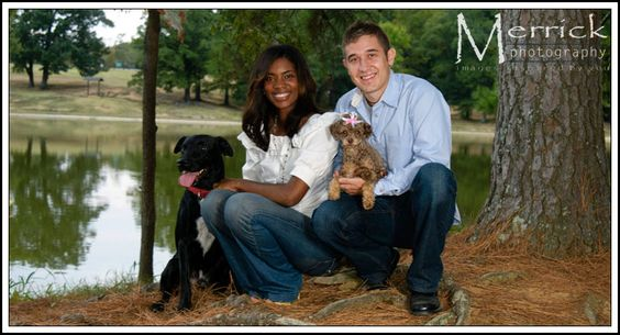 Kodak and Prissy photographed with their owners Jessica & Jeff at Shelby Farms