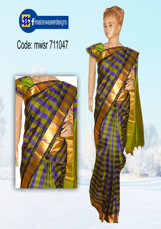 Cotton silksaree hand oven in Chennai checks pattern. Pen kalamkari applique work, cut work and hand embroidery mirror kanta work done on blouse. Code: 711047 Price: 3300/- ( bulk buyers / whole sale / boutiques / Retail shops for trade inquiries please contact our WhatsApp no 8801302000 )