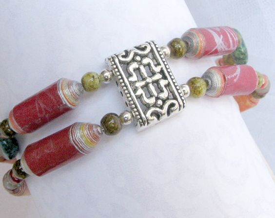 Red Braclet with Green Accents by #PurpleDotBoutique for sale on Etsy #gifts