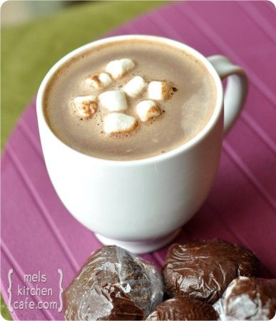Truffle Hot Chocolate Balls.  Drop on in some hot milk and Hot Chocolate deliciousness is created.  Yummy gift to give.