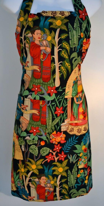 Mexico Import Arts - Frida Kahlo's Garden Apron Black