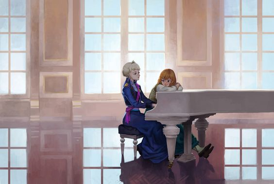 One of my favorites. Elsa, Anna, piano, a grand ball room.