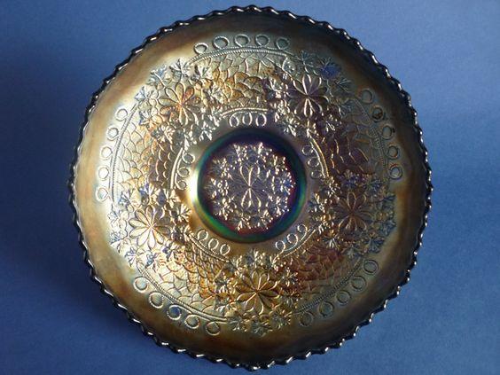 Fenton Blue Carnival Glass 'Leaf Chain' Bowl