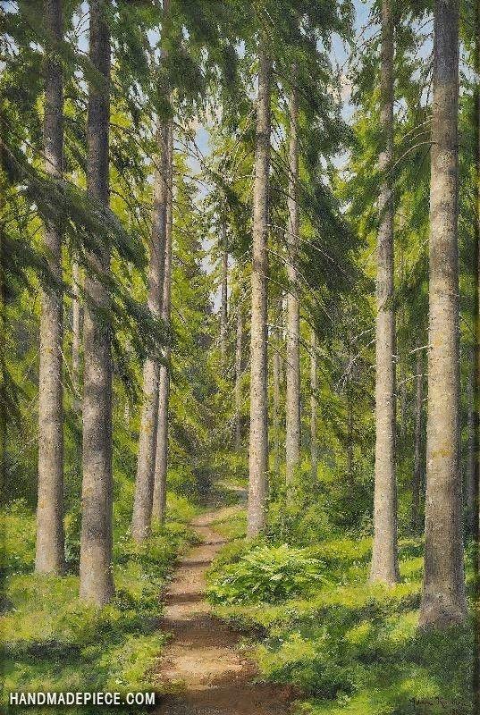 Sunlit Forest Path Landscape Paintings Landscape Art Landscape