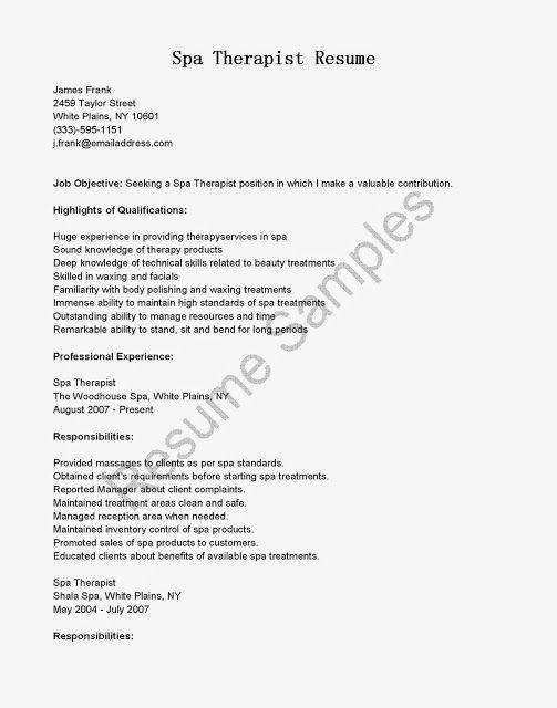 Spa Therapist Resume Sample Debandje Resume Objective Resume Template Resume