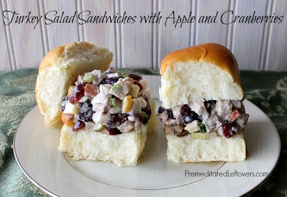 Turkey Salad Sandwiches with Apples and Cranberries served on King's Hawaiian Dinner Rolls #KHHolidayRollCall #sp