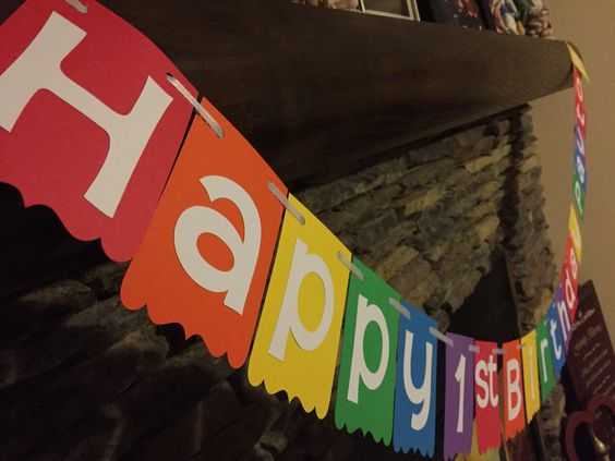 Happy birthday rainbow banner rainbow themed birthday for Balloon banner decoration