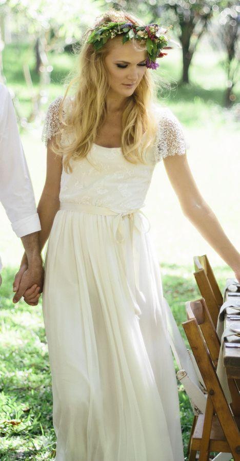 White Ivory Bridal Gowns Chiffon Wedding Dresses Custom Size 2 4 6 8 10 12 14 16